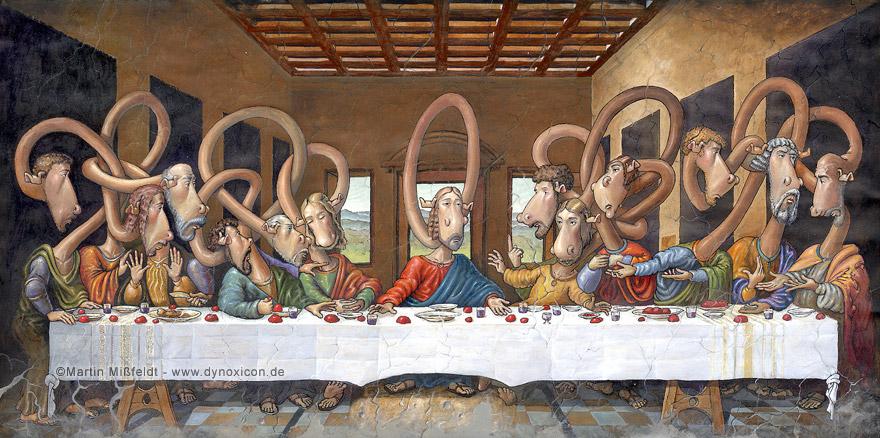 Cartoon Das letzte Abendmahl - nach Leonardo da Vinci