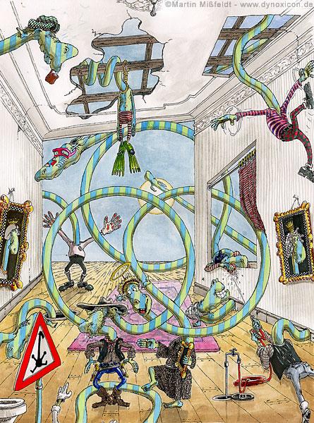 Cartoon Semiolympic - Raumstation – Kreiskomposition