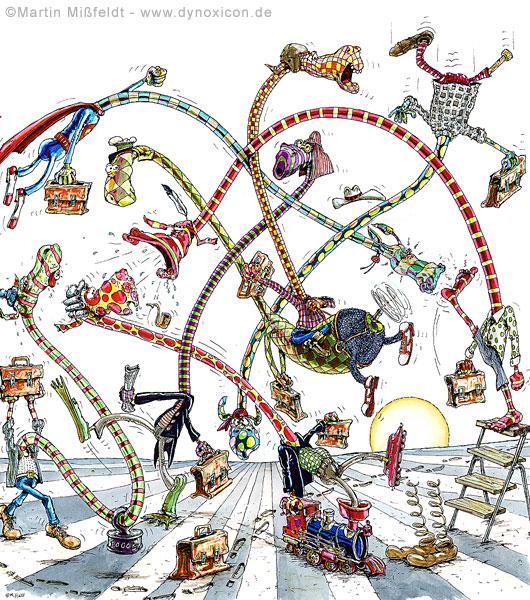Cartoon Allmorgentliches Verkehrschaos