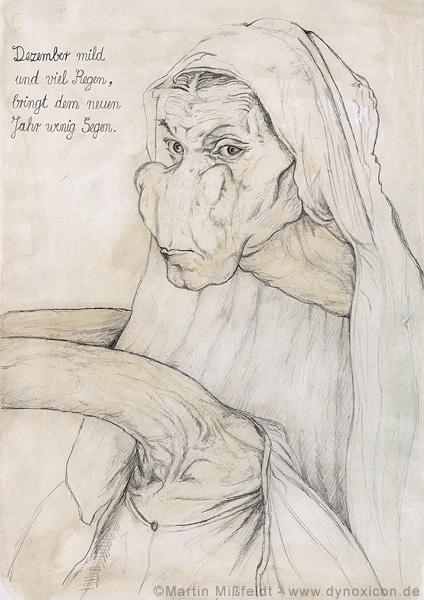 Cartoon Albrecht Dürer seine Mutter-Giraffe