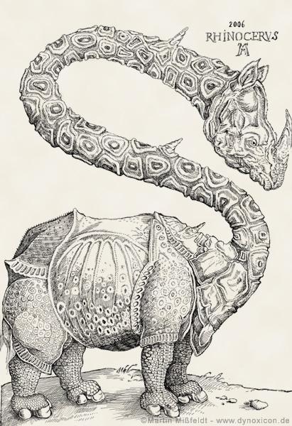 Cartoon Rhinozeros (Holzschnitt nach Albrecht Dürer)
