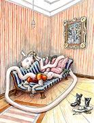 Cartoon: Mann hat Sehnsucht und träumt
