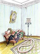 Cartoon: Frau hat Sehnsucht und träumt