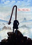 Cartoon: Wanderer über Nebelmeer - Caspar David Friedrich