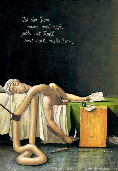 Cartoon Tod des Marat - Jacques Louis David