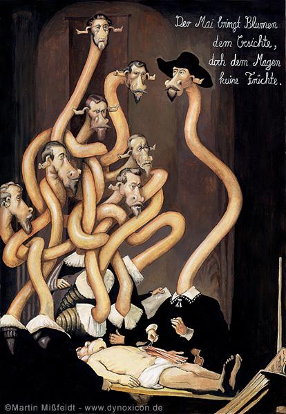 Cartoon Anatomie des Dr. Tulp nach Rembrandt