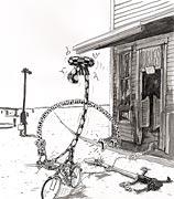 Cartoon: Der Handlungsreisende wird Zeuge eines tragischen Unfalls