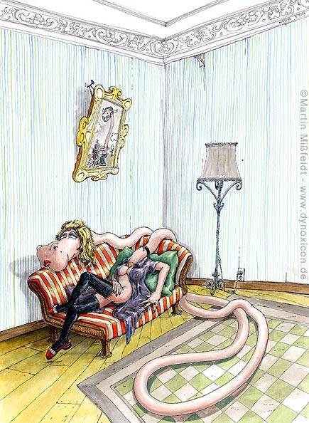 Frau cartoon giraffe liegt lasziv auf sofa cartoon