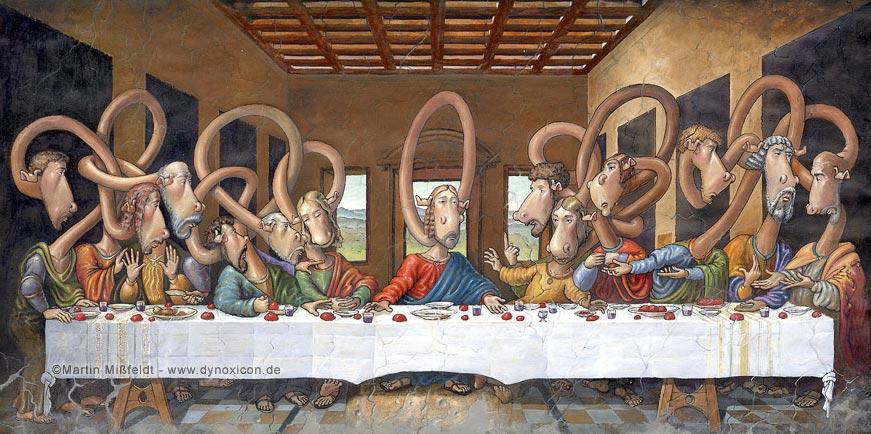 Lustiger Cartoon - Jesus beim Abendmahl