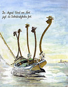 Cartoon: Aquarell-Cartoon: Giraffen segeln am Meer