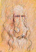 Leonardo da Vinci Selfportrait in the rain