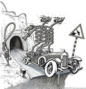 Cartoon: Oldtimer-Cartoon: Braut am Tunnelende