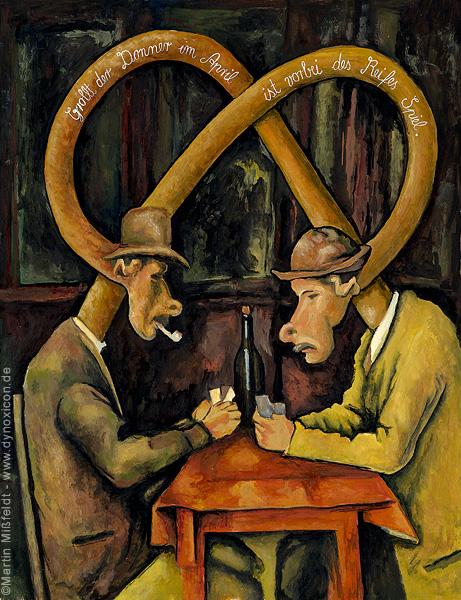 Cartoon Kartenspieler nach Paul Cezanne