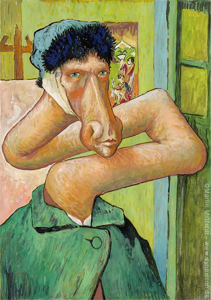 Cartoon Selbstbildnis mit ohne Ohr - nach Vincent van Gogh