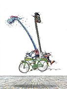 Cartoon: Rückwärts auf Fahrrad malen