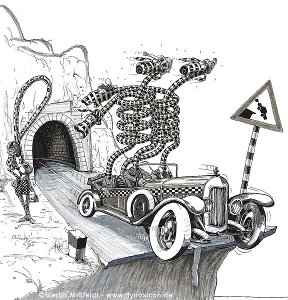 Cartoon Unfall-Ursache am Tunnel  Ende