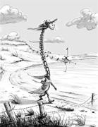 Cartoon: Einsame Giraffe am Tschad-See