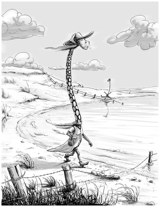 Cartoon Einsame Giraffe am Tschad-See