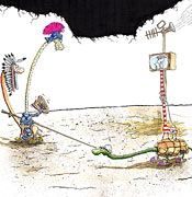 Cartoon: Der heilige Georg kämpft gegen den Drachen